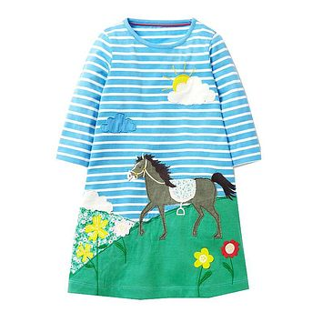 Princess Dress Children Clothing Cotton Casual Tunic Kids Unicorn Party Costume Baby Girls Dresses with Animal Appliques