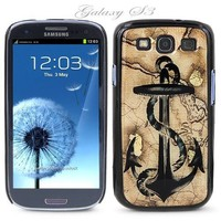 Black Snap-on S3 Phone Cover Case for Samsung Galaxy SIII Phone - ANCHOR WITH VINTAGE MAP LOGO DESIGN. Height: 5.3 Inches X Width: 2.6 Inches X Thickness: 0.5 Inch.