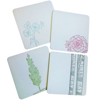 Flowers and Trees Coasters Letterpress on Thick Cotton Paper
