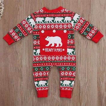 Newborn Baby Boy Girl Christmas Costume Print Baby Rompers Long Sleeve Winter Crawling Kids Clothes Romper Jumpsuit
