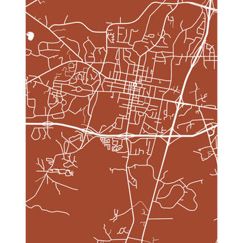 Oxford Map Print - Mississippi Art Poster