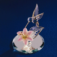 Small Hummingbird & Lily Glass Figurine
