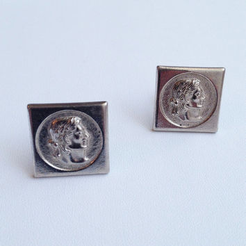 Roman Warrior Cuff-links Bachelor Buttons Silver-tone 60s Vintage Men's Wedding Groom Formal Accessories - Free Shipping