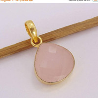 20% Off Mothers Day Sale Rose Quartz Pendant - Teardrop Pendant - Faceted Pendant - Love Pendant - Gemstone Pendant - Brass Pendant - Gift i