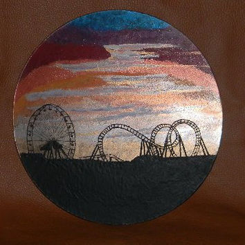 "Wall Art, Hand painted, hand carved,silhouette,9"" wooden plate,roller coaster,ferris wheel"
