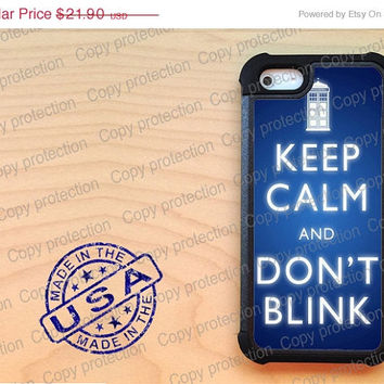 SALE Keep calm and dont blink iPhone 5 case with extra protection- Tardis Doctor Who iPhone 5 hard case, 2 piece rubber lining case