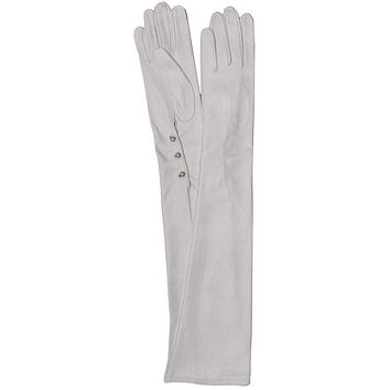 Women's Silk Lined White 3 Button Leather Wedding Gloves