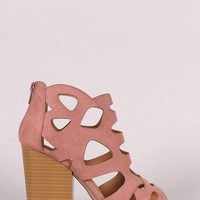 Qupid Peep Toe Cutout Stacked Chunky Heeled Booties