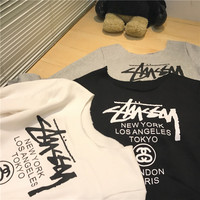"""Stussy"" Women Print Off Shoulder Top Shirt Pullover Sweater"