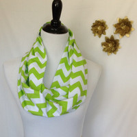 Lime green and white chevron Infinity scarf, Lime green and white Chevrons Zig Zag, jersey knit scarf, infinity scarf, bridesmaid gift