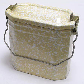 French Metal Lunch Box (Gamelle), Miners Lunch Box, Kitchenalia, French Lunch Box, French Lunch Pail, Enamelware, Vintage Metal Pail(3968)