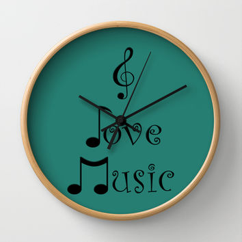 I Love Music - Tribal Teal Wall Clock by Moonshine Paradise