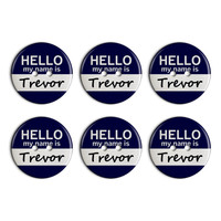 Trevor Hello My Name Is Plastic Resin Button Set of 6