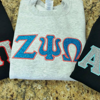 Sorority Sweatshirt - Custom Glitter/Embroidery Applique