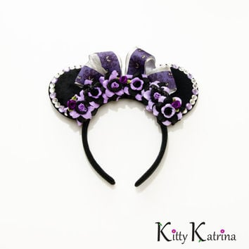 Haunted Mansion Mouse Ears Headband, Haunted Mansion Ears, Haunted Mansion Wallpaper, Disney Halloween Ears, Minnie Halloween Ears