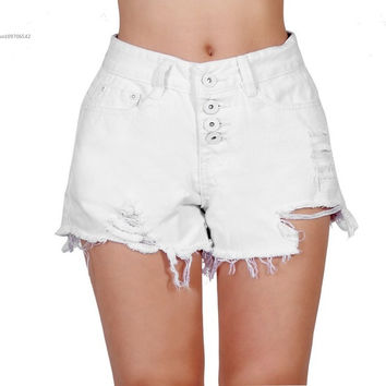 New Fashion Vintage Retro Women Girls High/Low Waist Tassel Hole Jeans Denim Shorts