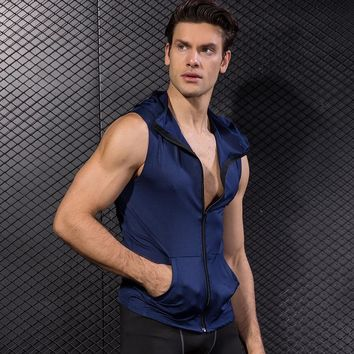 YD High Elastic Men's Jacket Hoodie Quick Dry Sleeveless Running Jacket Sport Vest Gym Fitness Tight Clothing Men's Sportswear