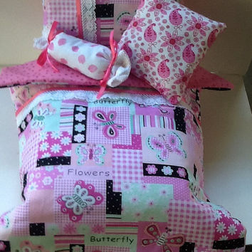 Pink Doll Bedding - Comforter -    3 pillows - Butterfly print with flowers - Reversable to pink glitter polka dot - Cotton - Handmade
