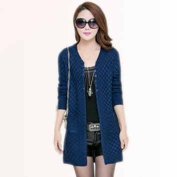 Cute Women Long Cardigan Ladies Sweater With Pockets Knitted V-Neck