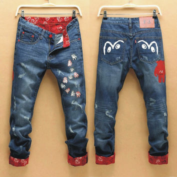 Korean Men's Fashion Slim Stylish Men Pants Jeans [6528598659]
