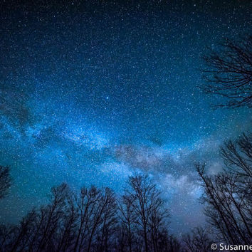Milky Way Photo, Astro Photography, Starry Night, Galaxy, Fine Art Print, Blue Green, Magical, Spring Night, Wisconsin, Home Decor