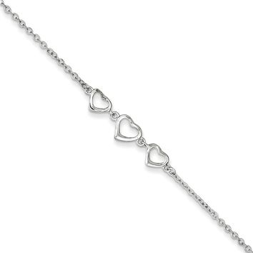 925 Sterling Silver Cable Chain Hollow Heart Trio Ankle Bracelet