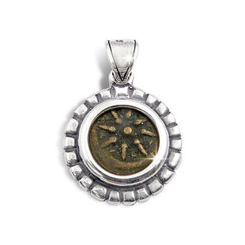 Ancient coin jewelry,authentic widow's mite,set in silver pendant.Made in and shipped from the Holyland,Jerusalem.
