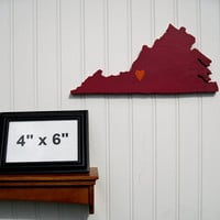 """Virginia Tech Hokies """"State Heart"""" wall art, handcrafted wood with official team colors"""