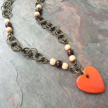 Tagua Nut Jewelry - Tagua Necklace - Heart Pendant - Orange Jewelry - Natural Ivory Jewelry - Brass Tagua Necklace