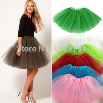 Women Girl Pretty Elastic Stretchy Tulle Teen 3 Layer Adult Tutu Skirt Costume