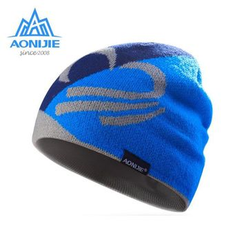 AONIJIE Winter Running Cap Women Men Jogging Homme Hat Windproof Warm Print Caps Outdoor Sports Knitted Hat Gorras Mujer