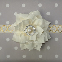 Poinsettia in Ivory and Gold - Quatrefoil Headband for baby or girls. Choose your size.
