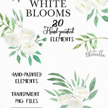 20 Watercolour Wedding White Flower Clipart - Hand Painted INSTANT DOWNLOAD Elements Green PNGs Spring Summer Leaves Bridal Digital Art