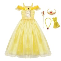 VOGUEON Girls Princess Belle Party Dress Beauty and The Beast Kids Dress up Halloween Cosplay Costume Little Girl Prom Clothing