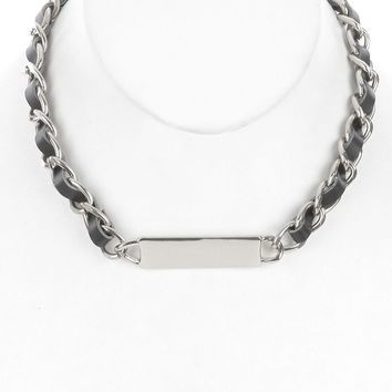 Dinahh (Silver) Metal Bar Bib Necklace
