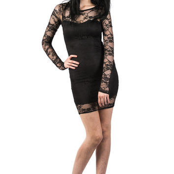 Carianne Long Sleeve Lace Bodycon Dress in Black