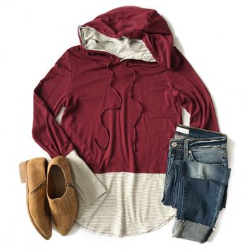 Burgundy Hooded Top with Gray Striped Cuffs