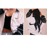 Fashion NIKE Hooded Zipper Cardigan Sweatshirt Jacket Coat Windbreaker Sportswear stripe black white