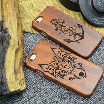 Fashion Natural Wooden Wood Bamboo Phone Back Protector Case For iPhone 5 5S SE 6 6 PLUS Cover