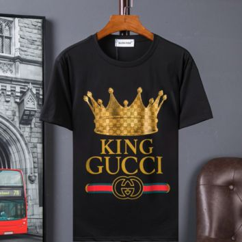 Gucci king pure cotton crown print short sleeves