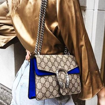 GUCCI Fashion Hot Selling Spicy Girls Alcoholics Shoulder Bag Shopping Bag Blue