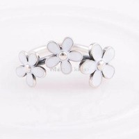 Size 7 1PC Authentic Flower Wedding Rings Three Daisy 925 Sterling Charm Ring suitabl