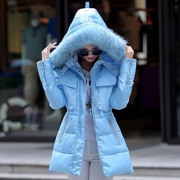 New 2016 Fashion Winter coat Women Thick Fur Collar Warm Winter Jacket women Hooded Down Parkas Feminina