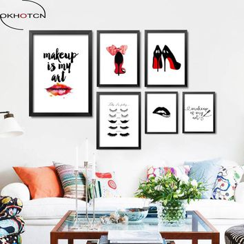 OKHOTCN Fashion MakeUp Is My Art Wall Canvas Painting Home Decor Today I Am Feeling Wall Art Prints Fashion Girl Art Pictures