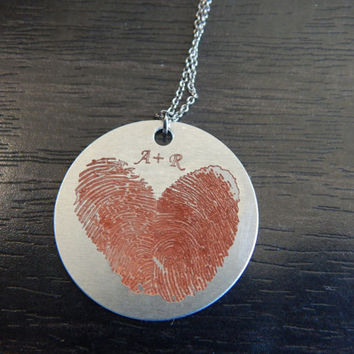 Orange Personalized Custom Engraved Fingerprint Heart Pendant Necklace, Memorial Jewelry, Great Holiday Gift, Birthday Gift