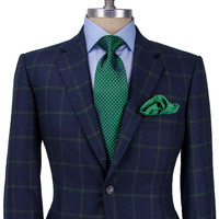 Belvest Navy with Green Windowpane Sportcoat