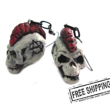 Punk rock jewelry - Mohawk skull earrings - crust punk earrings - anarcho punk - exploited skull jewelry - diy punk rock earrings deathrock