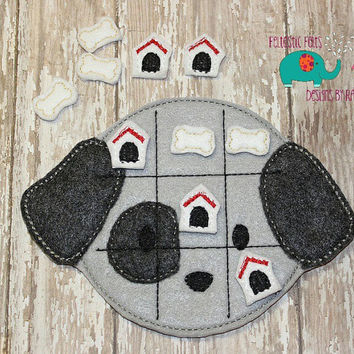 Dog bone dog house tic tac toe game embroidered, board game activity travel game quiet game busy bag felt board play set puppy pets animals