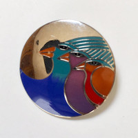 Laurel Burch Brooch-Celestial Birds Enameled Brooch-Three Birds-Designer Signed-Silver Tone Vintage