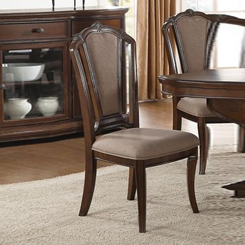 Birch Wood Arm Chair With Crown Back Set Of 2 Brown